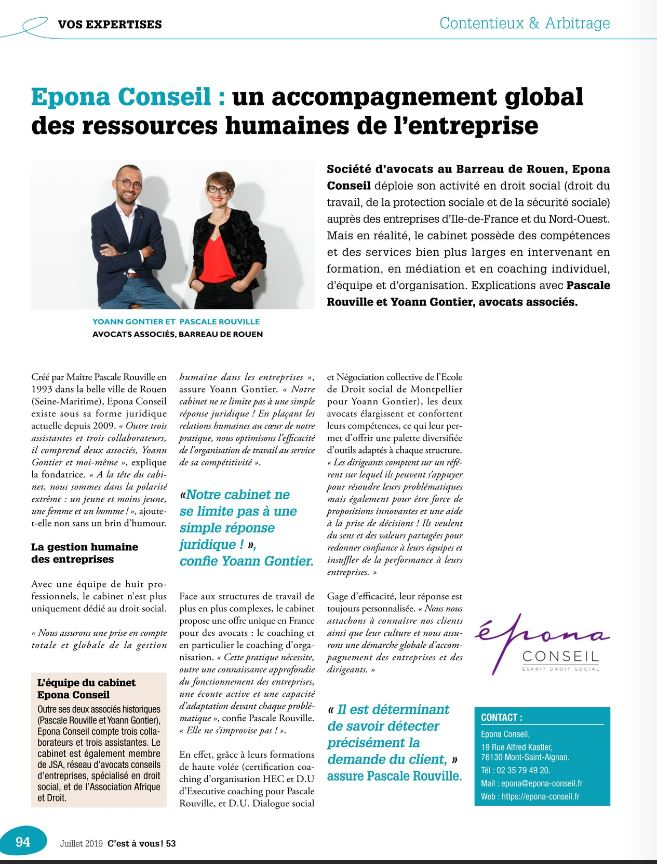 interview revue MEDEF Paris